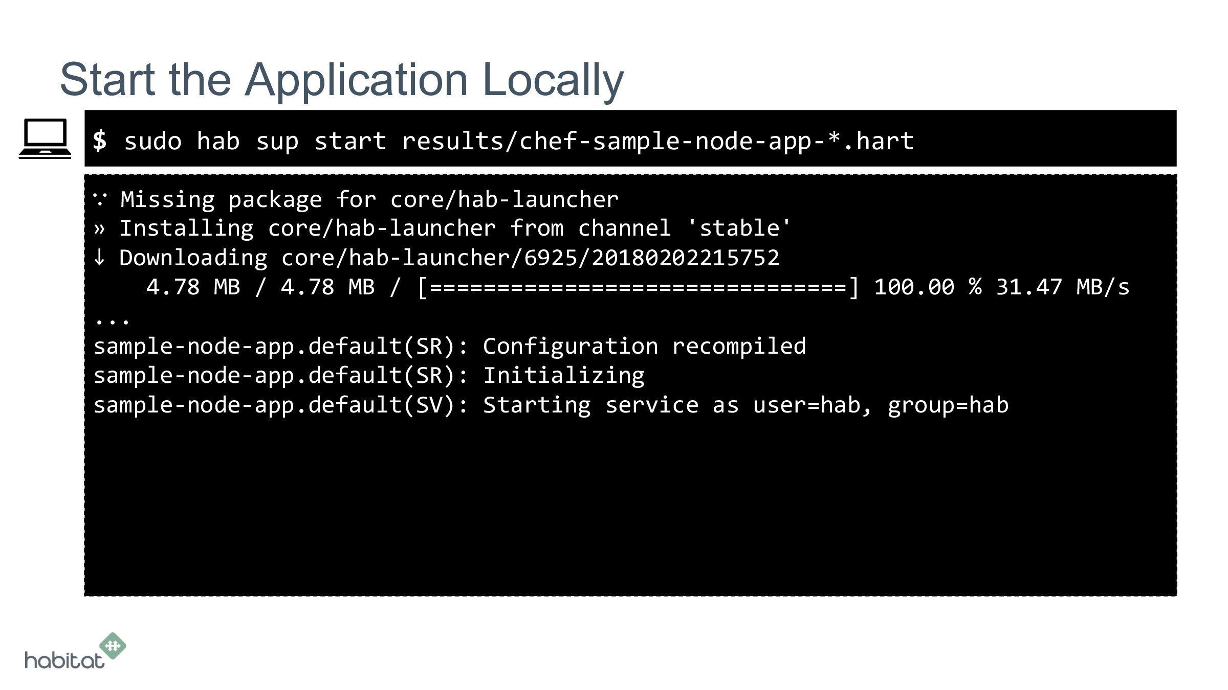 $ ∵ Missing package for core/hab-launcher » Ins...