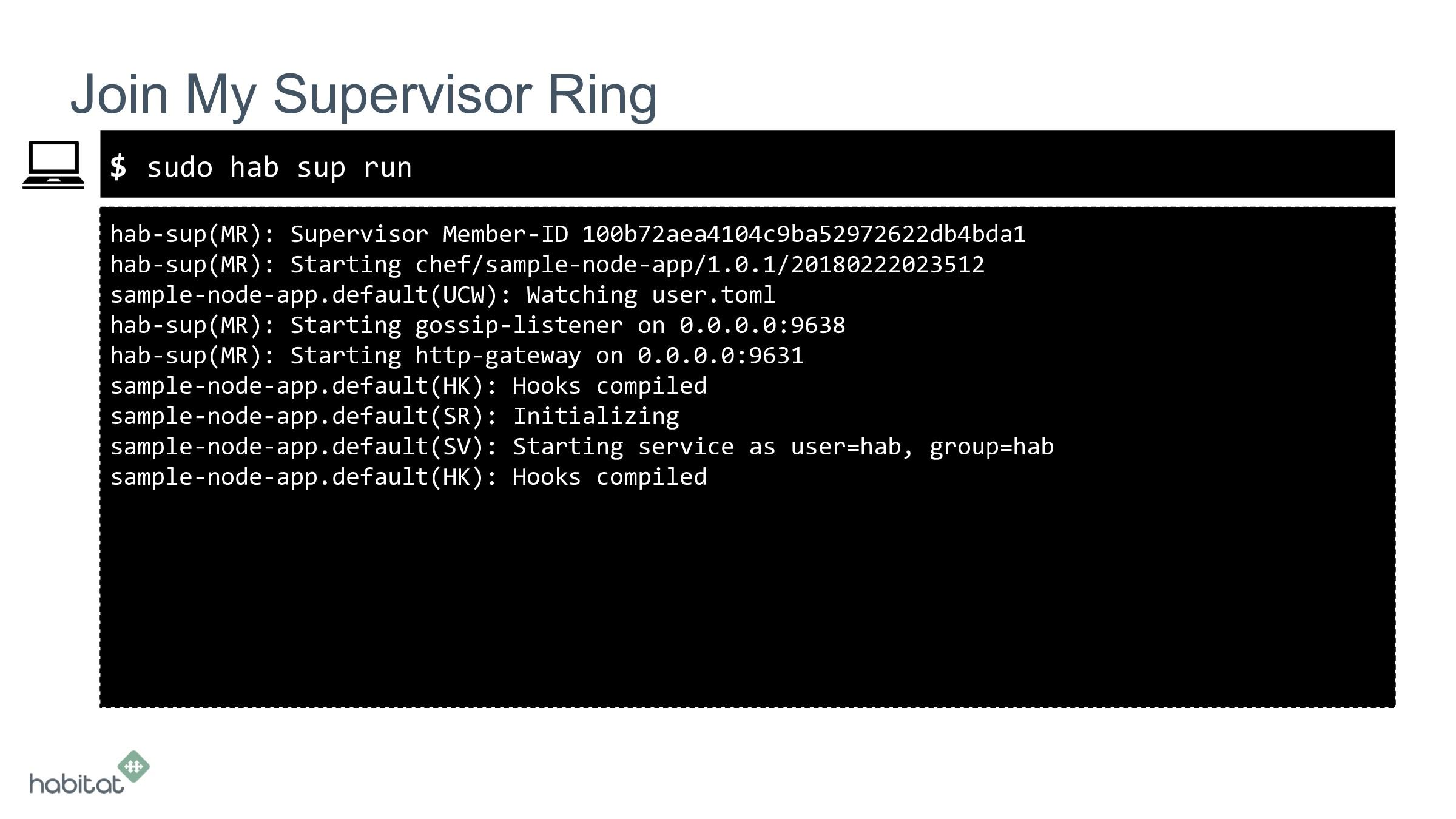 $ hab-sup(MR): Supervisor Member-ID 100b72aea41...