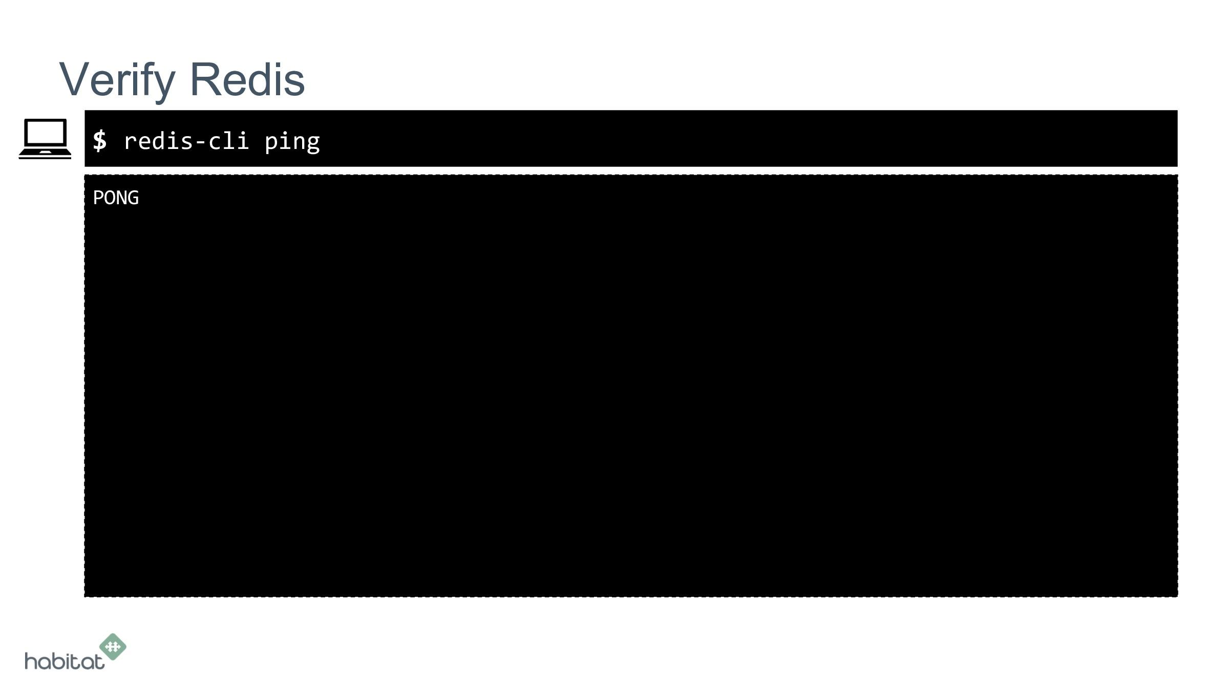 $ PONG Verify Redis redis-cli ping