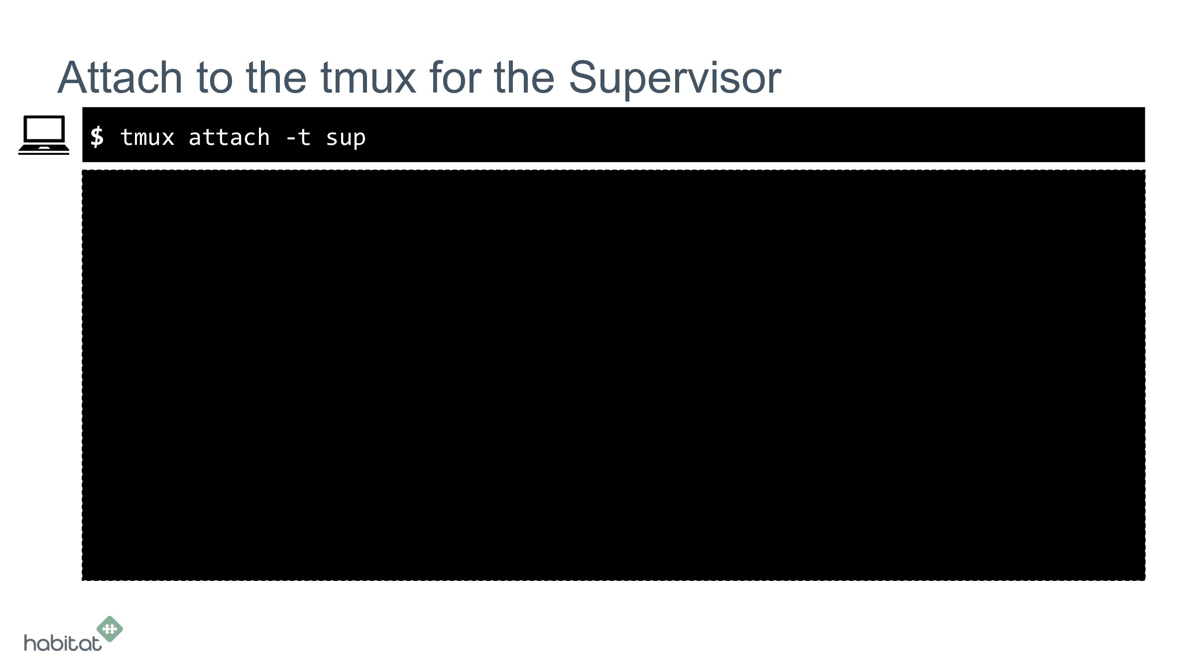 $ Attach to the tmux for the Supervisor tmux at...