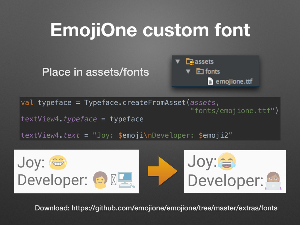 EmojiOne custom font val typeface = Typeface.cr...