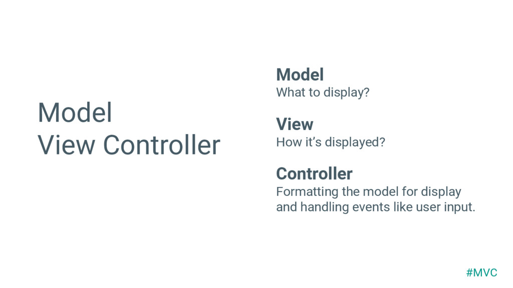 Model View Controller Model What to display? Vi...
