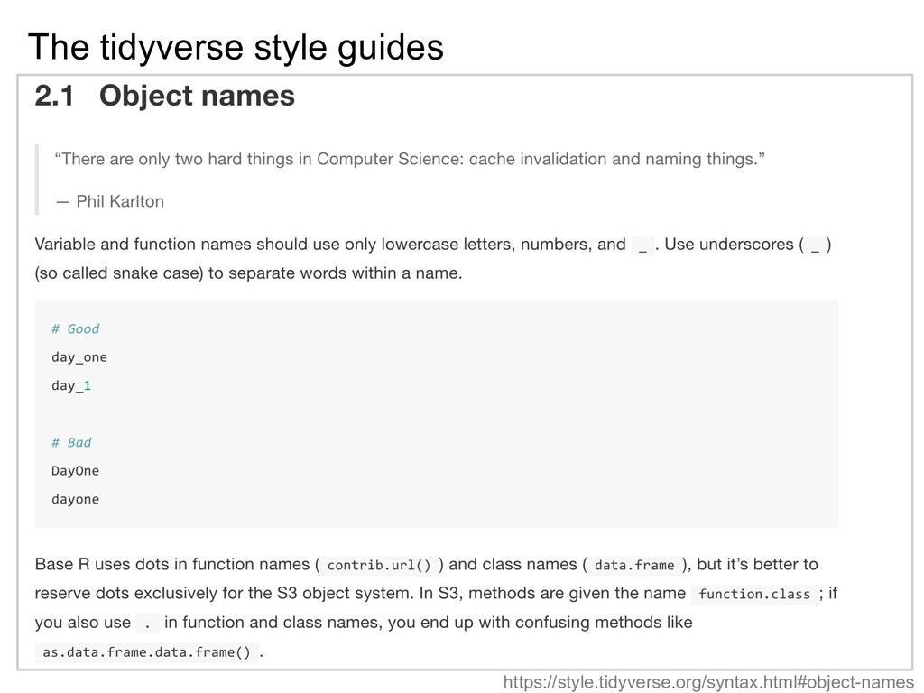 The tidyverse style guides https://style.tidyve...