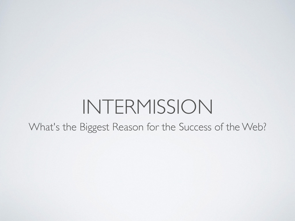 INTERMISSION What's the Biggest Reason for the ...