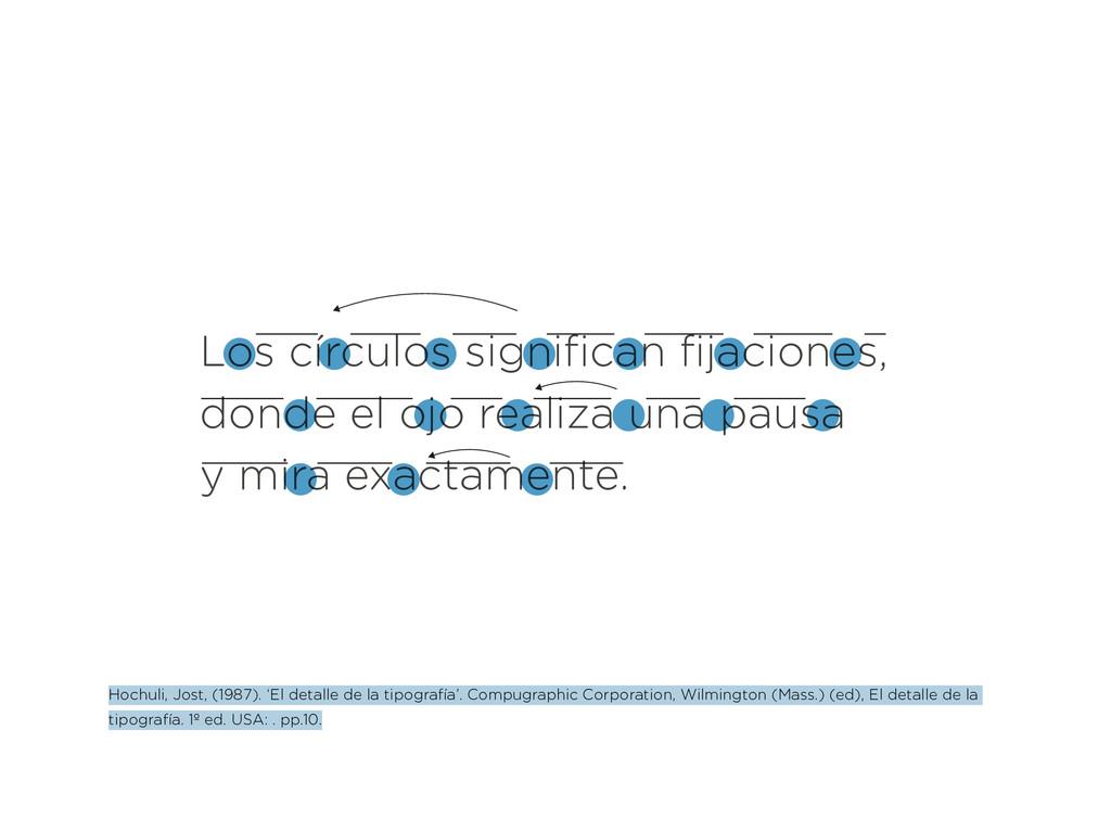 Los círculos significan fijaciones, donde el oj...
