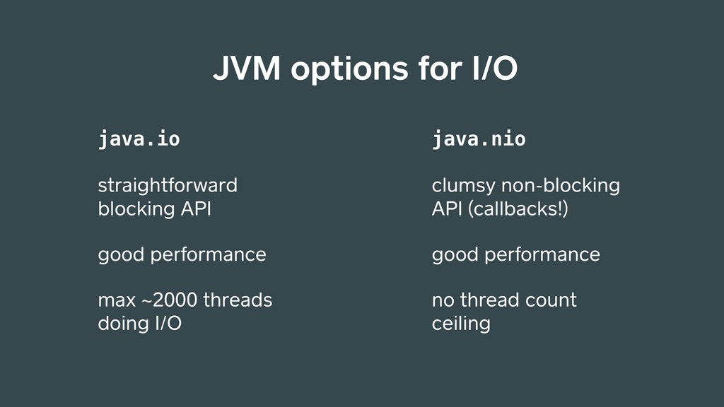 JVM options for I/O java.io straightforward blo...