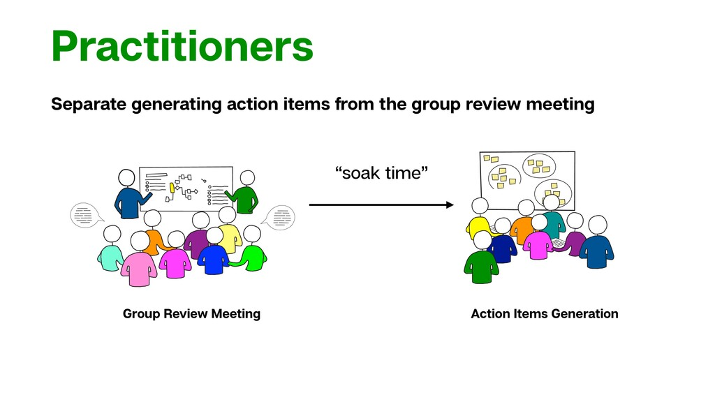 Practitioners Separate generating action items ...