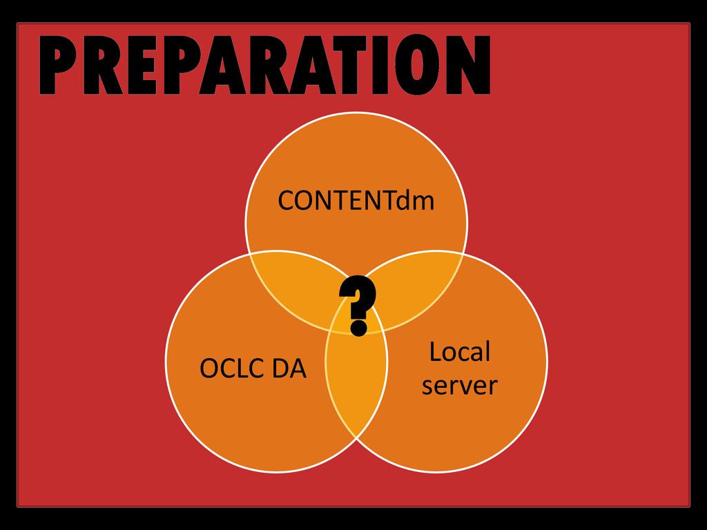 PREPARATION CONTENTdm Local server OCLC DA ?