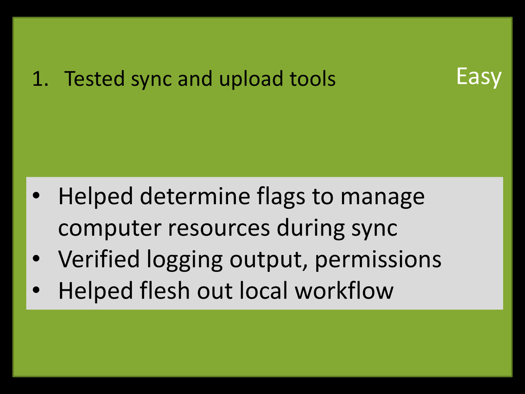1. Tested sync and upload tools • Helped determ...
