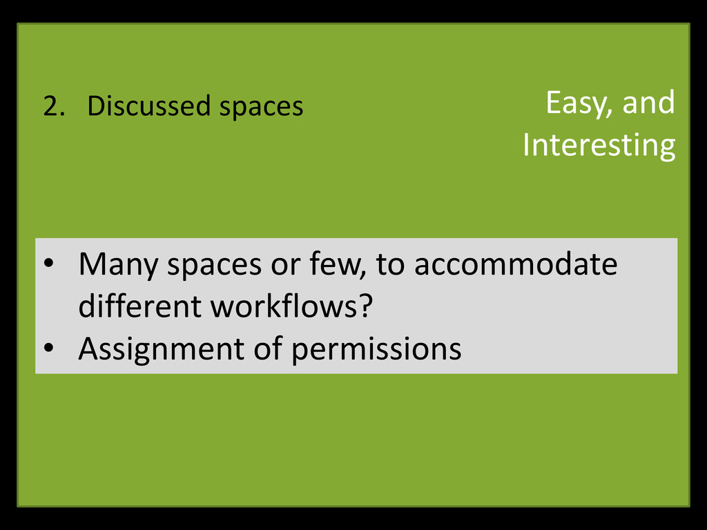2. Discussed spaces • Many spaces or few, to ac...