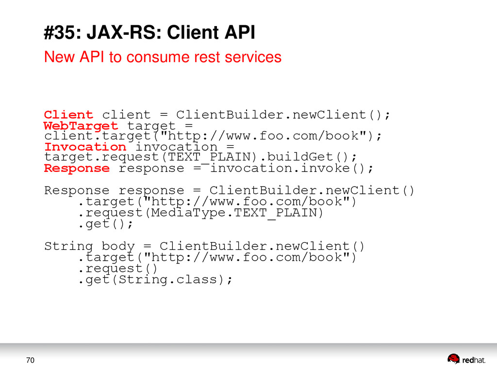 70 #35: JAX-RS: Client API New API to consume r...
