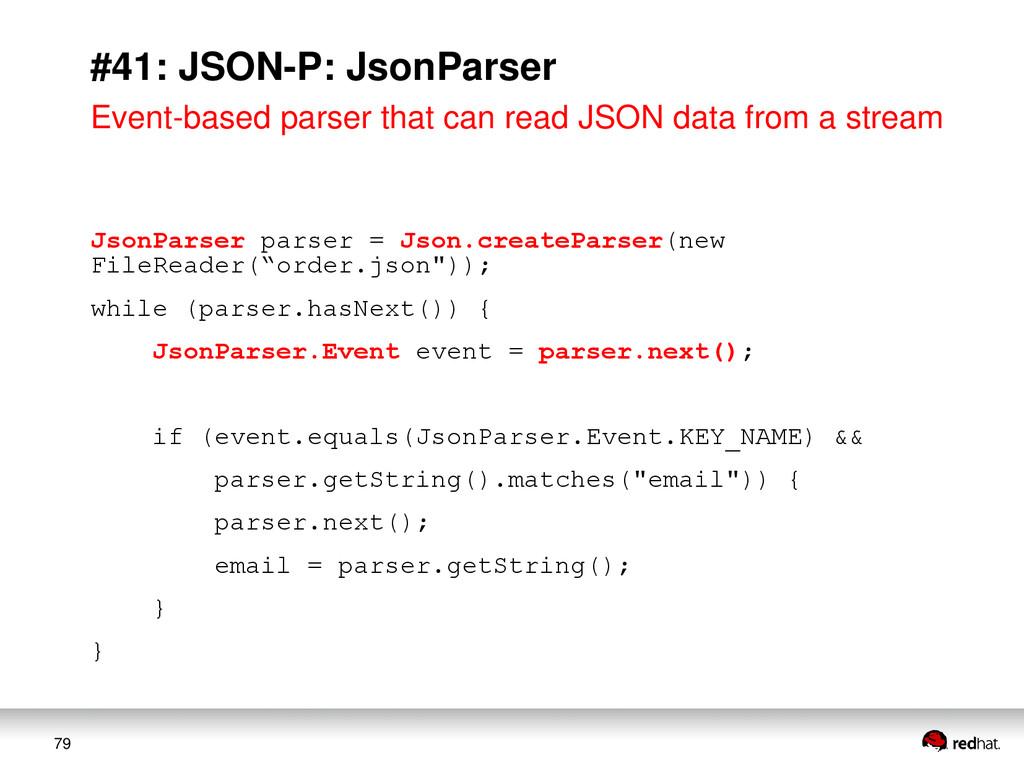 79 #41: JSON-P: JsonParser Event-based parser t...