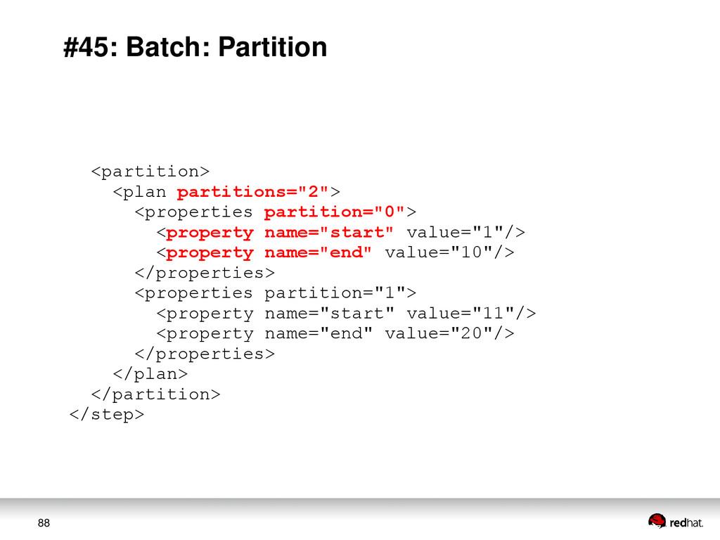 88 #45: Batch: Partition <partition> <plan part...