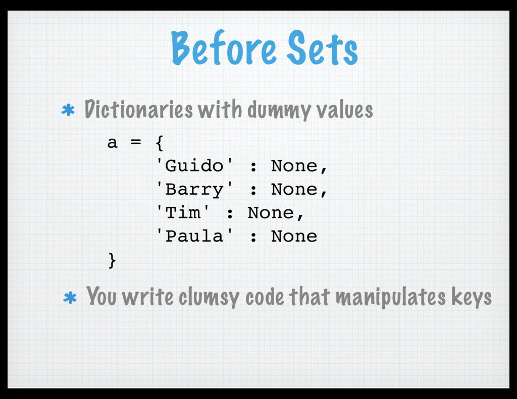 Before Sets Dictionaries with dummy values a = ...