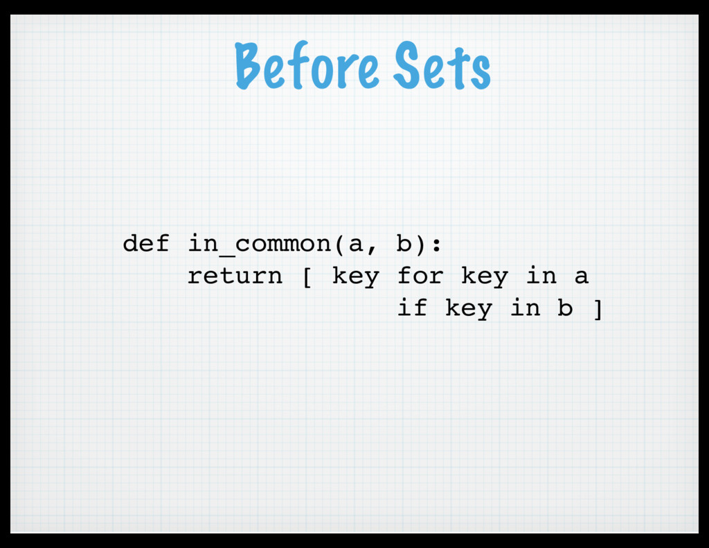 Before Sets def in_common(a, b): return [ key f...