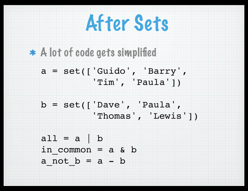 After Sets A lot of code gets simplified a = set...