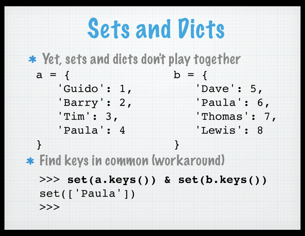 Sets and Dicts Yet, sets and dicts don't play t...