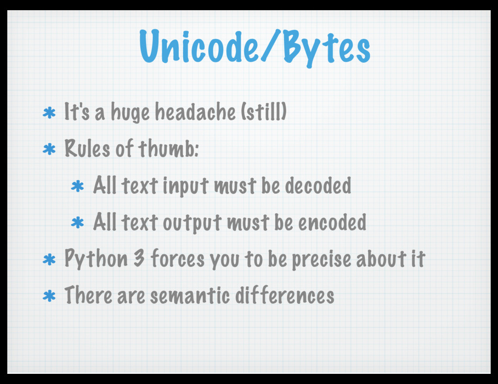 Unicode/Bytes It's a huge headache (still) Rule...