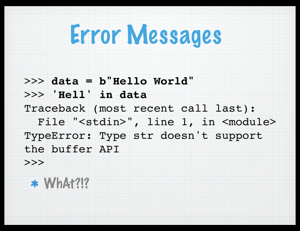 "Error Messages >>> data = b""Hello World"" >>> 'H..."