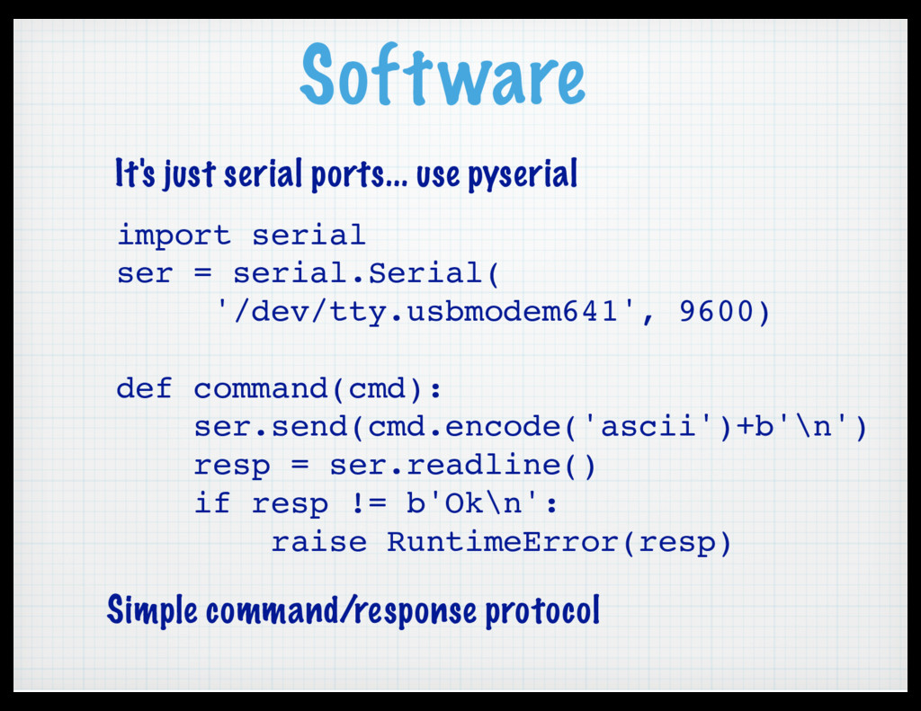Software import serial ser = serial.Serial( '/d...