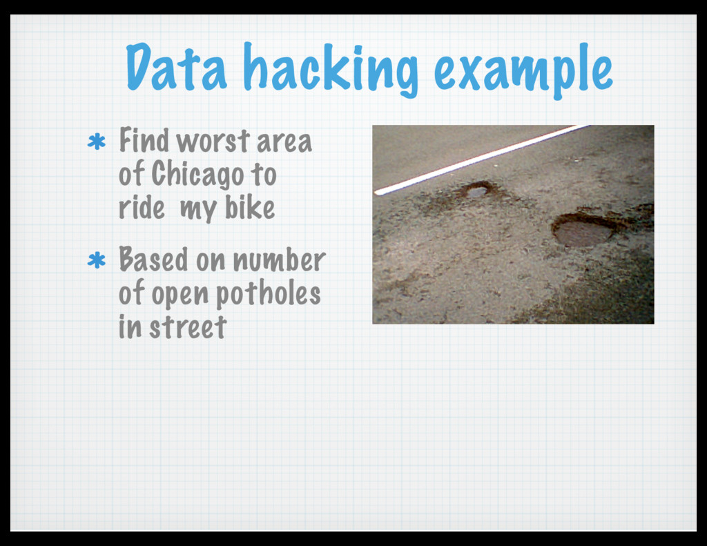 Data hacking example Find worst area of Chicago...