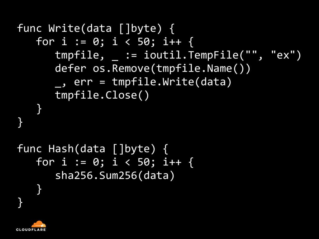 func Write(data []byte) { for i := 0; i < 50; i...