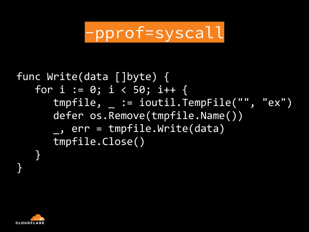 -pprof=syscall func Write(data []byte) { for i ...