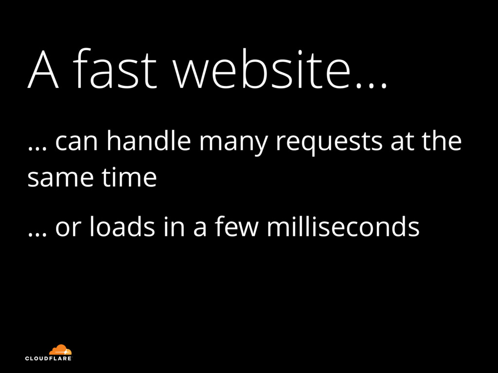 A fast website… … can handle many requests at t...