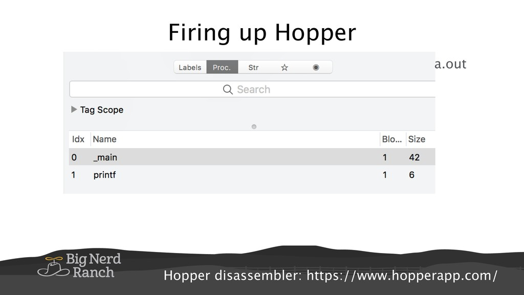 Firing up Hopper a.out Hopper disassembler: htt...
