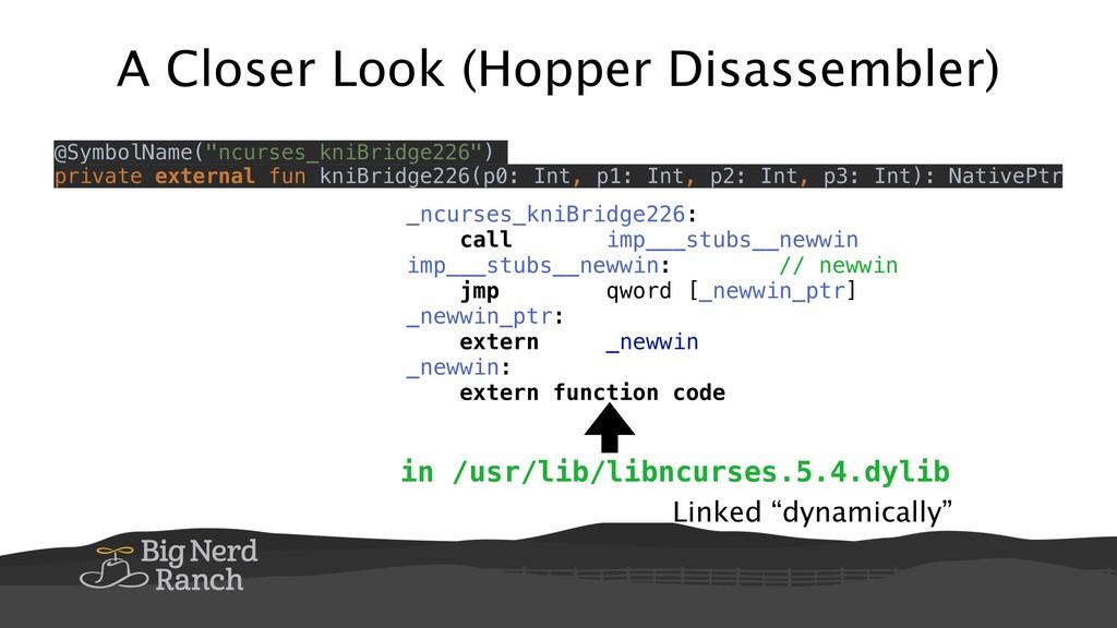 """A Closer Look (Hopper Disassembler) Linked """"dyn..."""