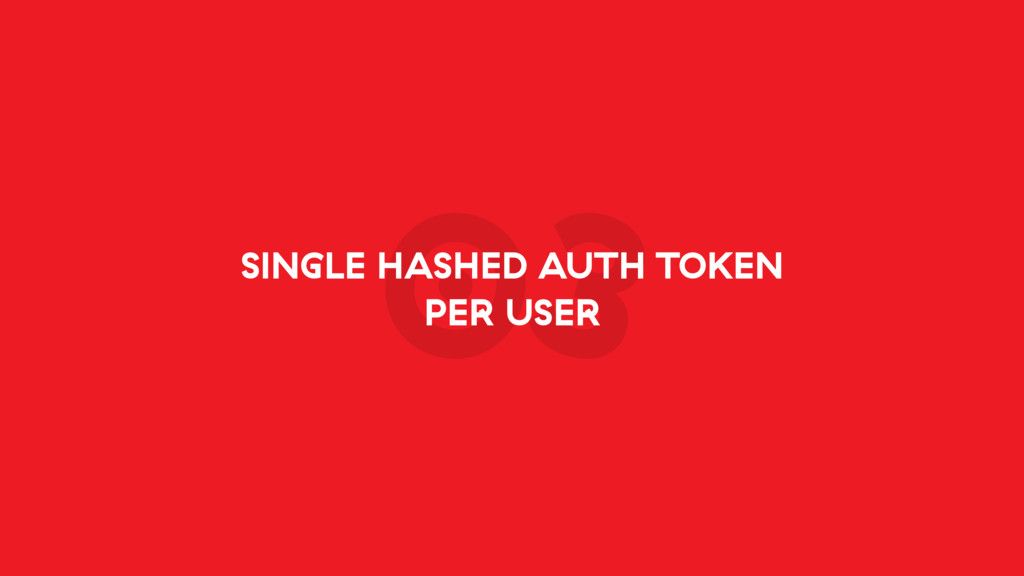 03 SINGLE HASHED AUTH TOKEN PER USER