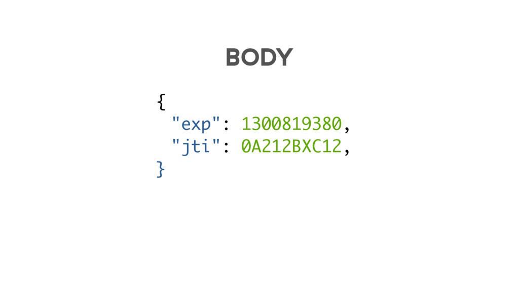 """{ """"exp"""": 1300819380, """"jti"""": 0A212BXC12, } BODY"""