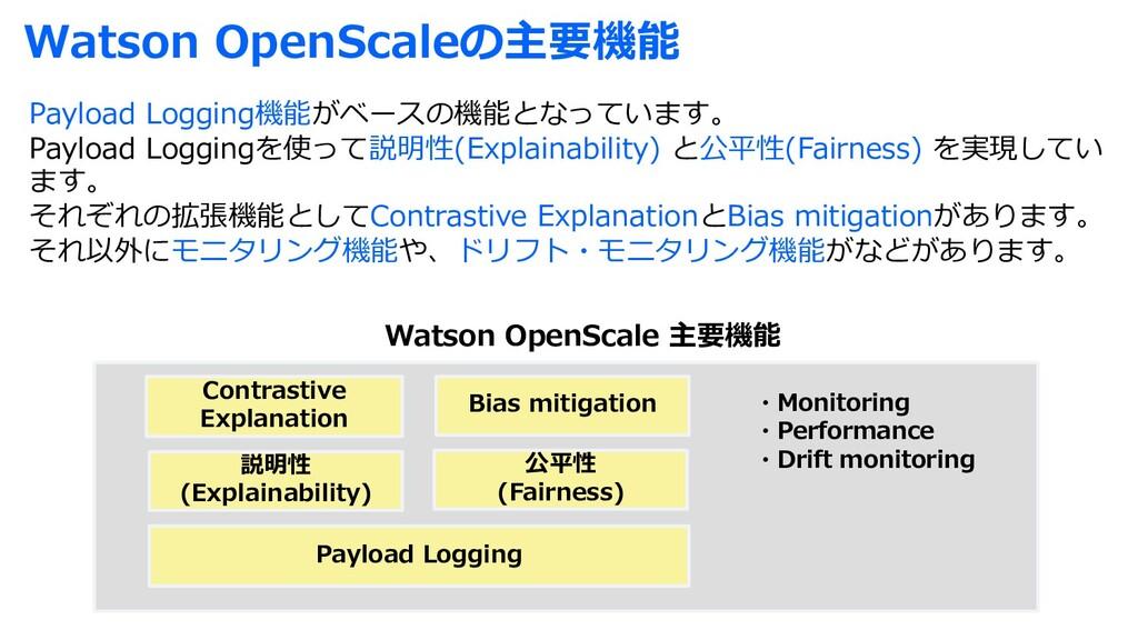 Watson OpenScaleの主要機能 Payload Logging機能がベースの機能と...