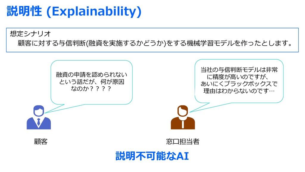 説明性 (Explainability) 想定シナリオ 顧客に対する与信判断(融資を実施するか...