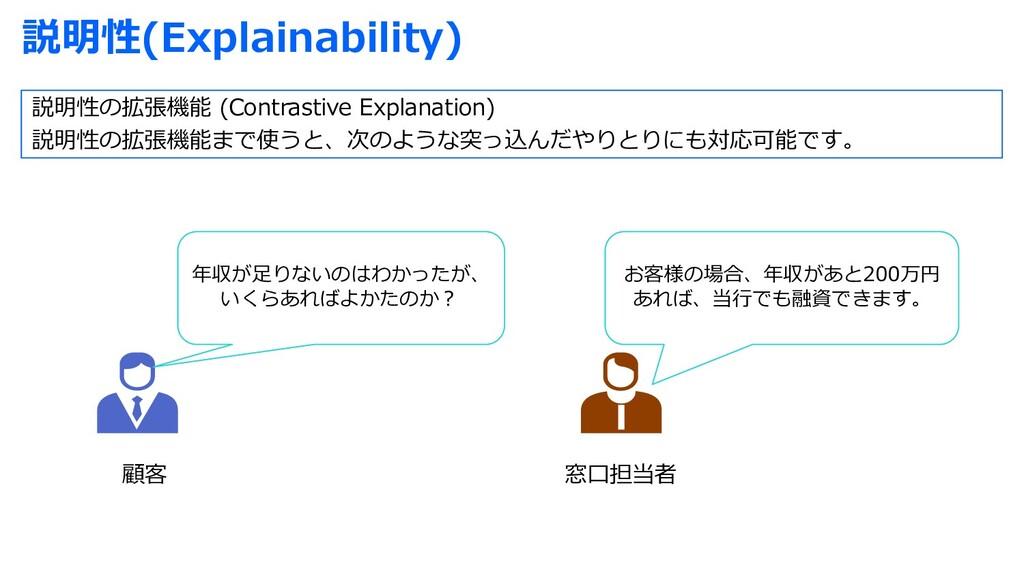 説明性(Explainability) 顧客 窓⼝担当者 年収が⾜りないのはわかったが、 いく...