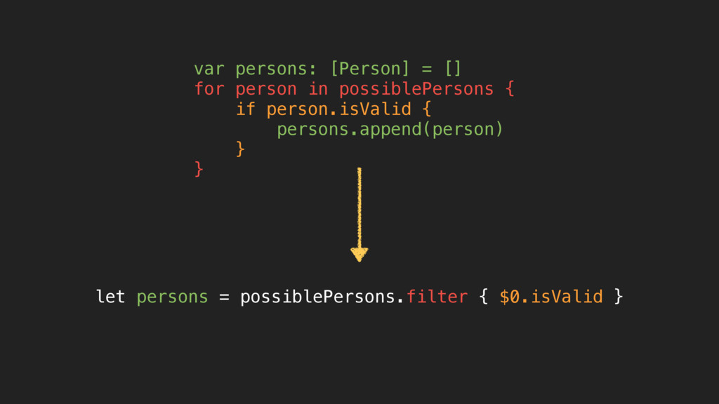var persons: [Person] = [] for person in possib...