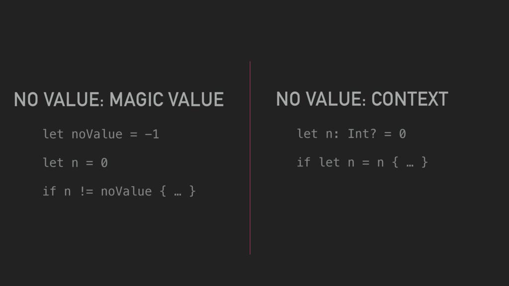 let noValue = -1 let n = 0 if n != noValue { … ...