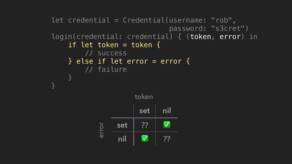 set nil set ⁇ ✅ nil ✅ ⁇ token error let credent...