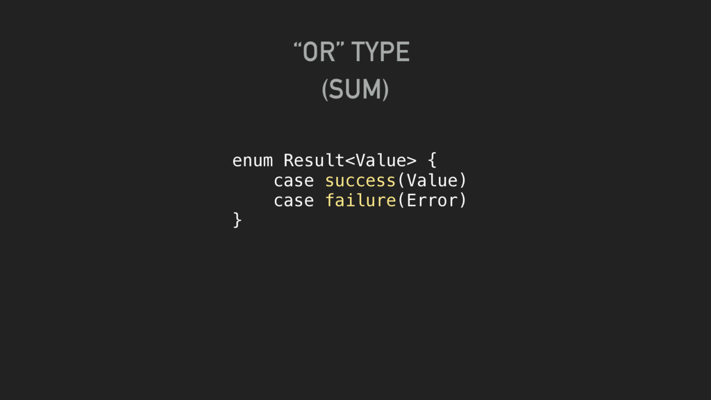 enum Result<Value> { case success(Value) case f...