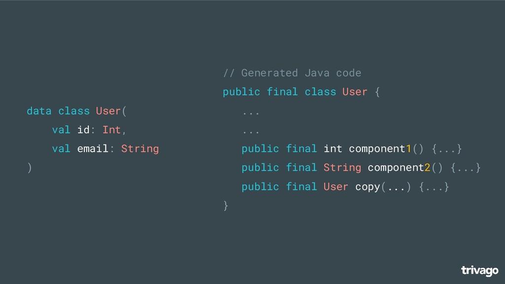 // Generated Java code public final class User ...