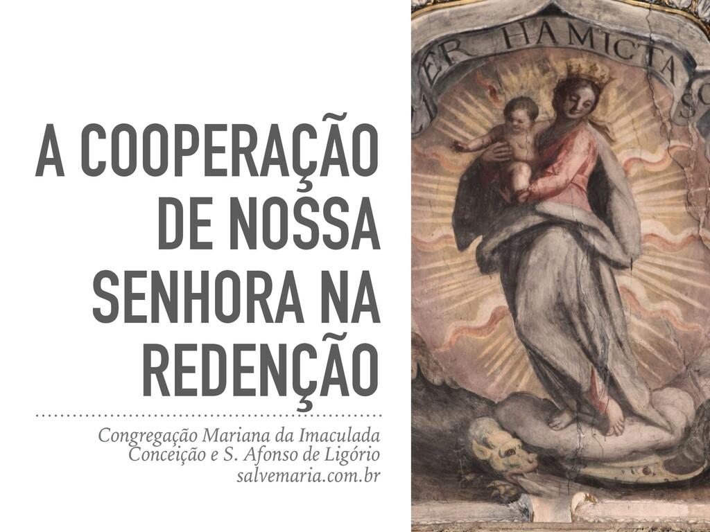 A COOPERAÇÃO DE NOSSA SENHORA NA REDENÇÃO Congr...