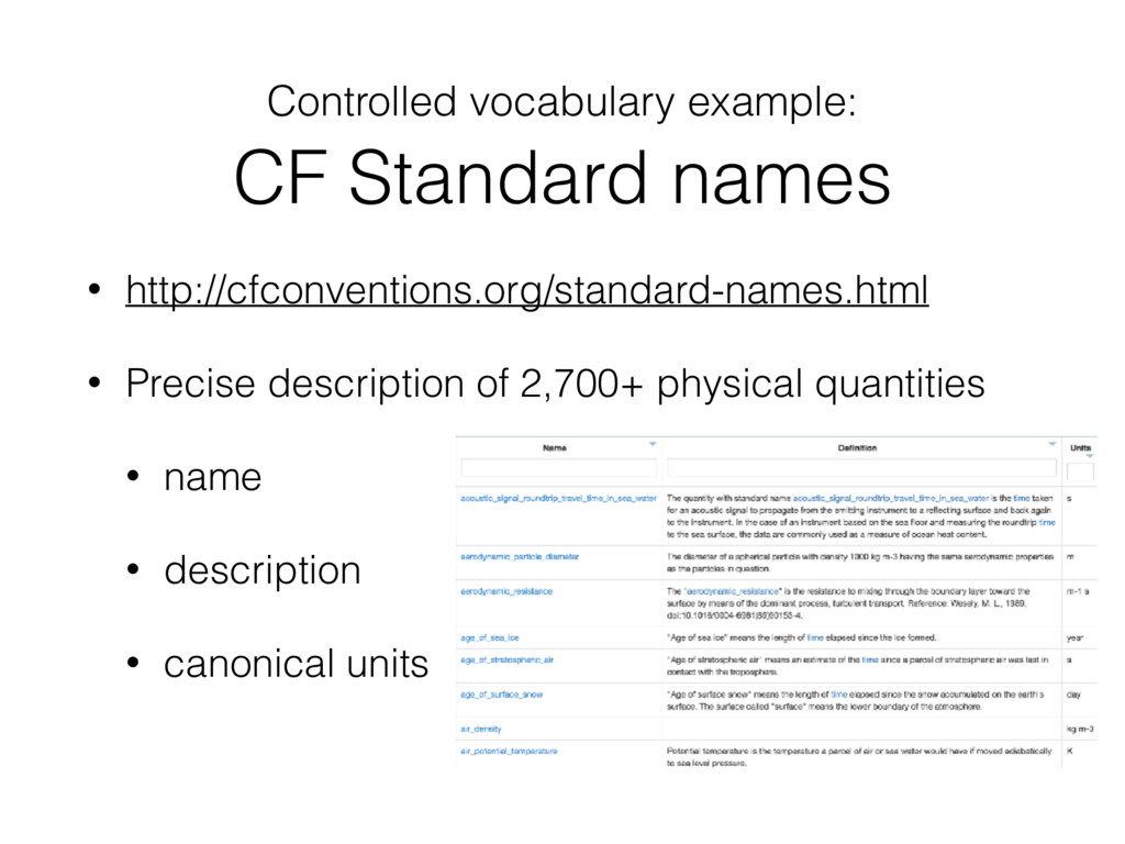Controlled vocabulary example:  CF Standard na...