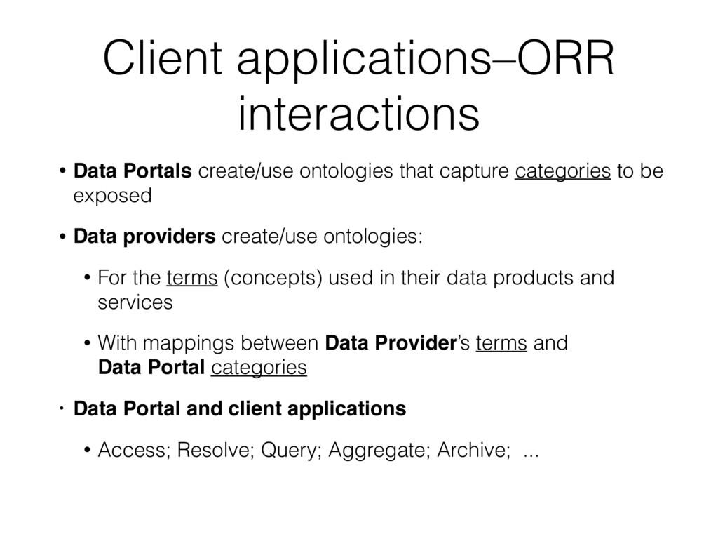 Client applications–ORR interactions • Data Por...