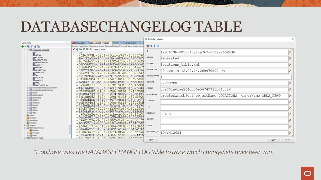 """Liquibase uses the DATABASECHANGELOG table to ..."