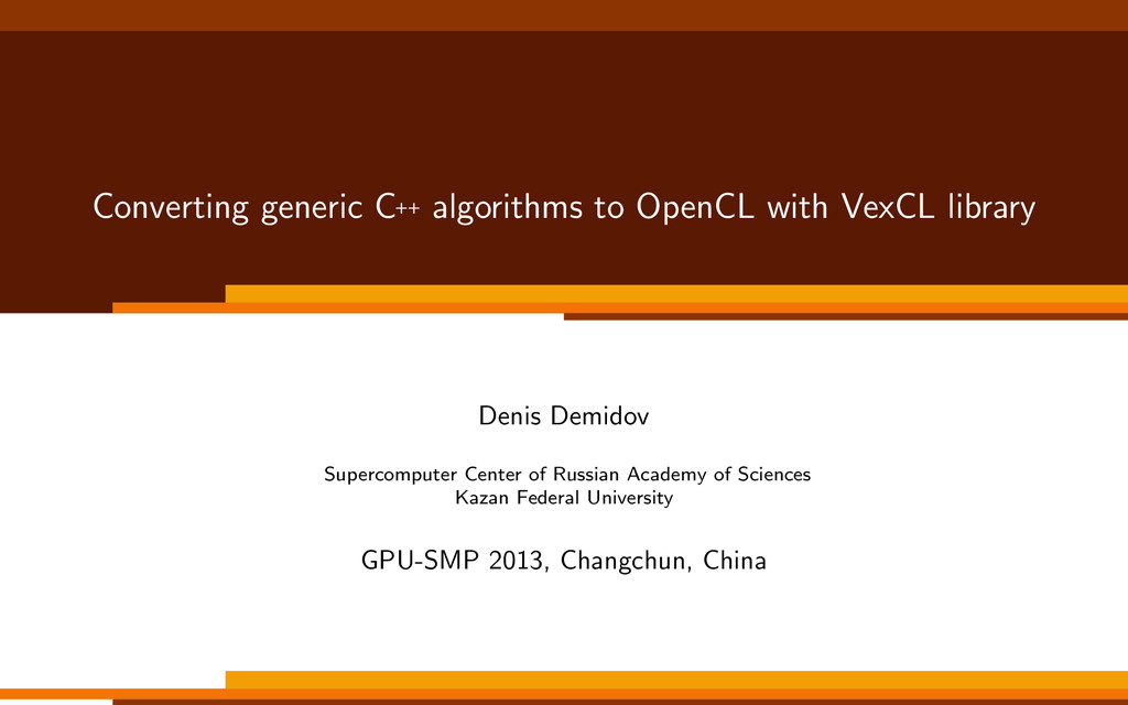 Converting generic C++ algorithms to OpenCL wit...