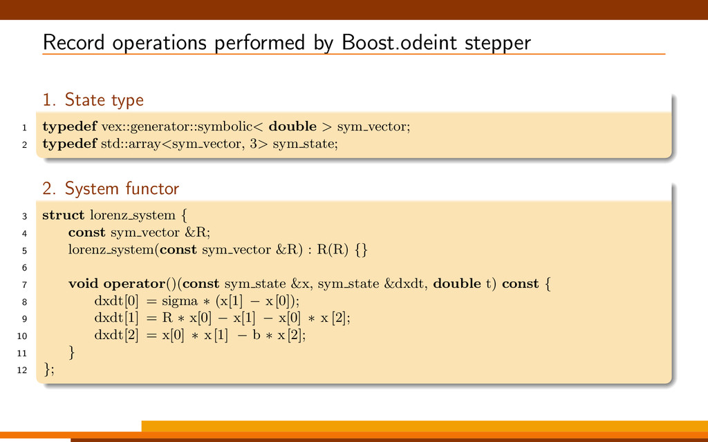 Record operations performed by Boost.odeint ste...