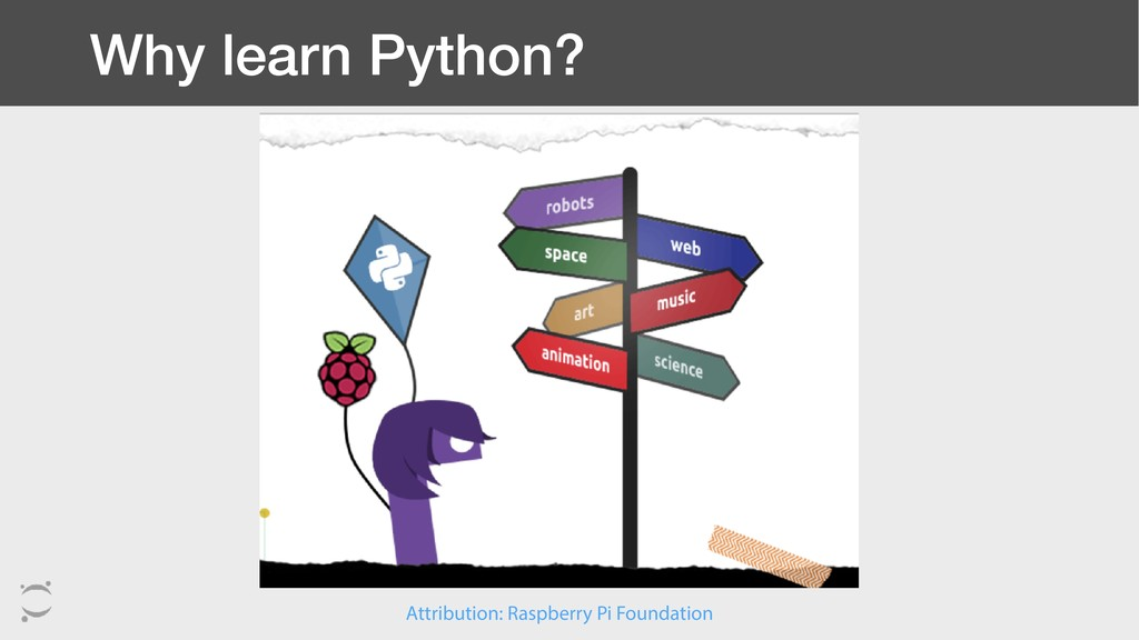 Why learn Python? Attribution: Raspberry Pi Fou...