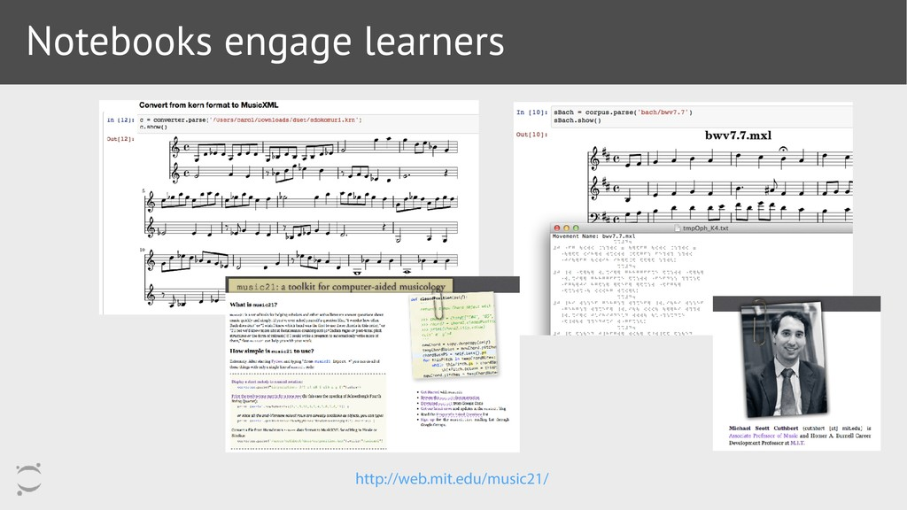 Notebooks engage learners http://web.mit.edu/mu...