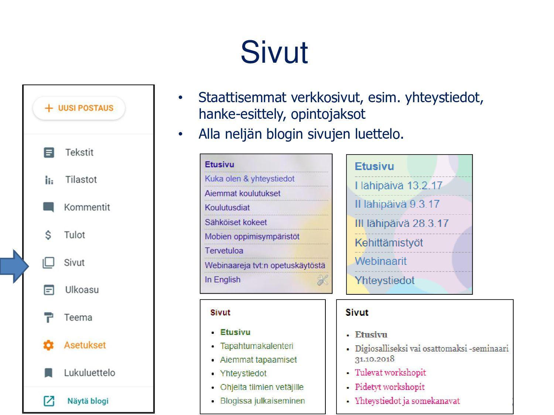 WordPress-blogin ohjausnäkymä Tampereen kaupung...