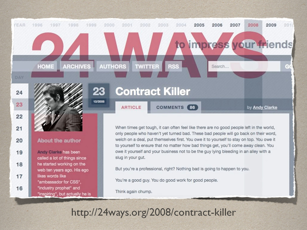 http://24ways.org/2008/contract-killer